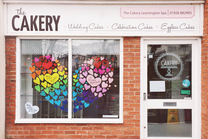 Rainbow Hearts in the Cakery Window