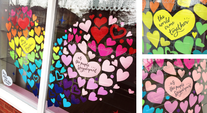 Close up of Rainbow Hearts in the Cakery Window