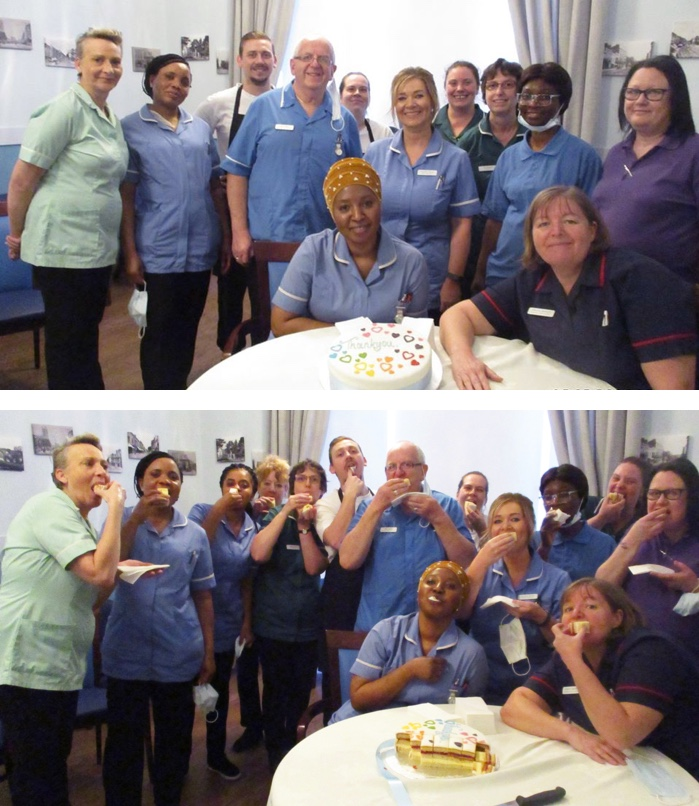 Staff at Royal Leamington Spa Nursing Home enjoying their cake