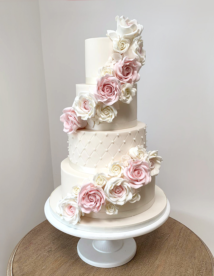 4 Tier Wedding Cake with Pink and Ivory Roses