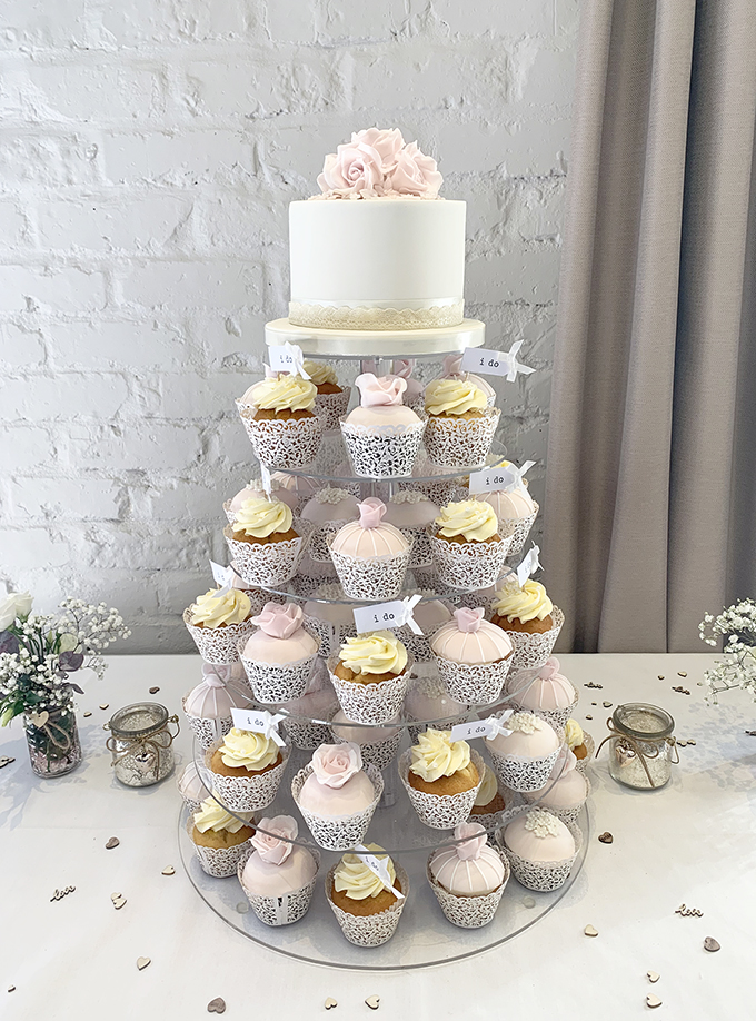 Pretty Cupcake Wedding Tower with I Do Flags
