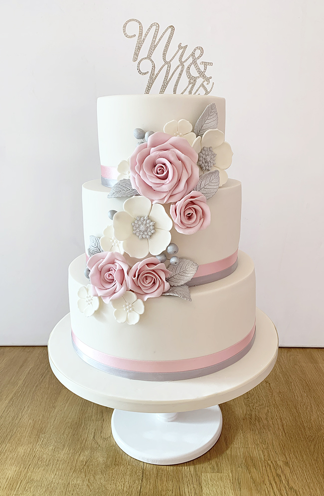 Wedding Cake with Baby Pink and Silver Flowers