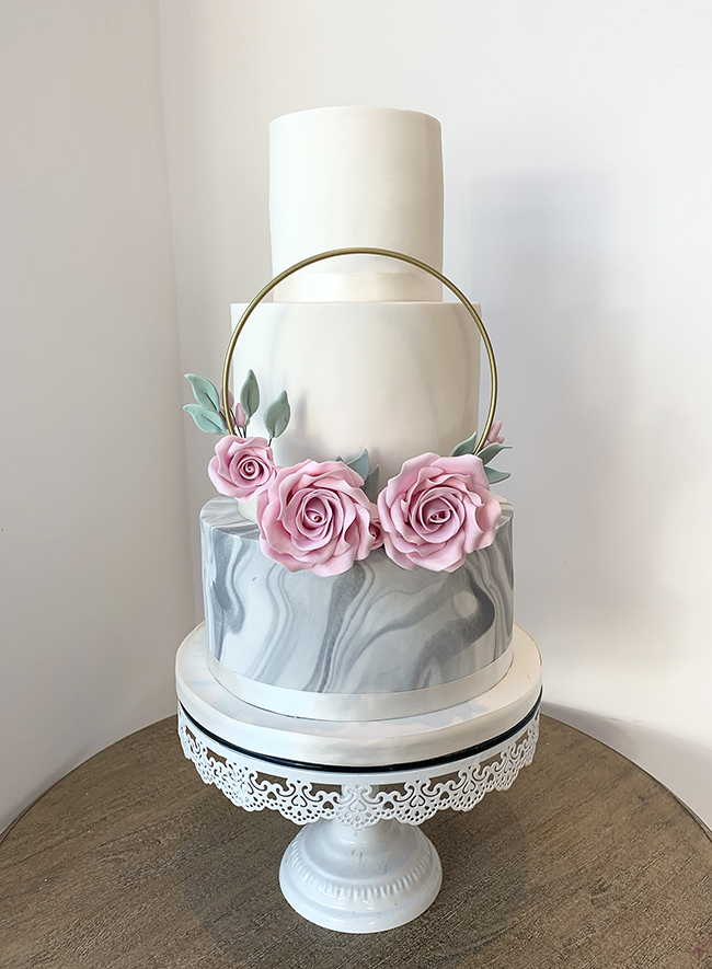 Wedding Cake with Marble Effect and Floral Ring