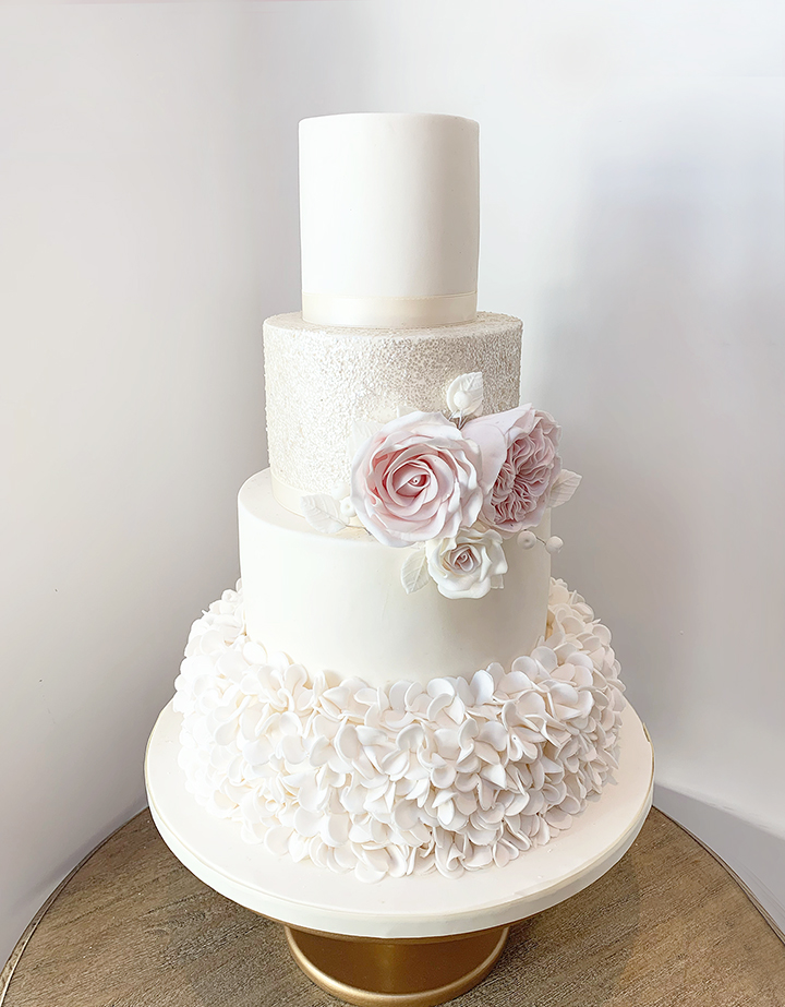 Wedding Cake with Ruffles Sparkles and Roses