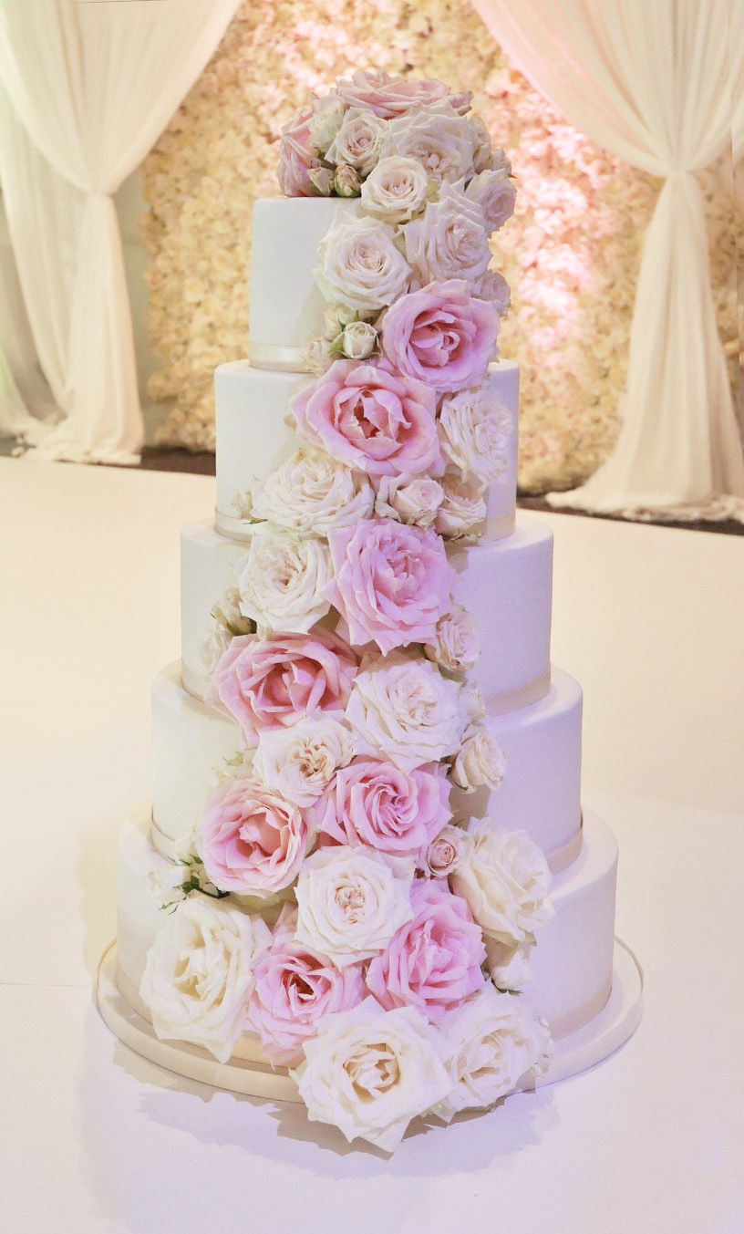 5 Tier Wedding Cake with Fresh Roses