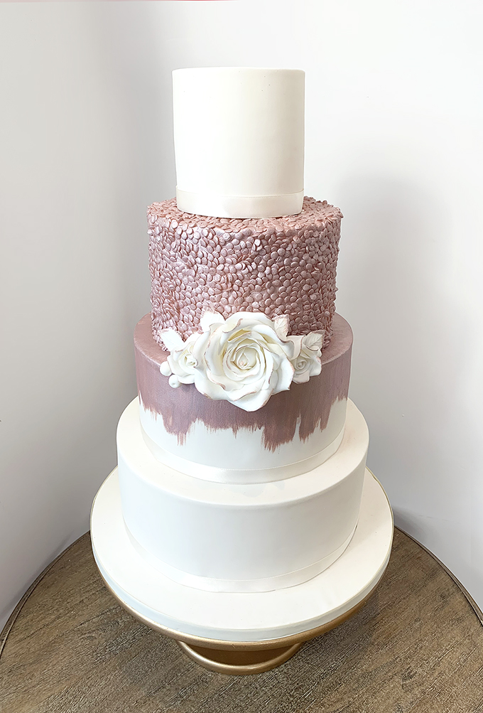 Ivory Wedding Cake with Rose Gold