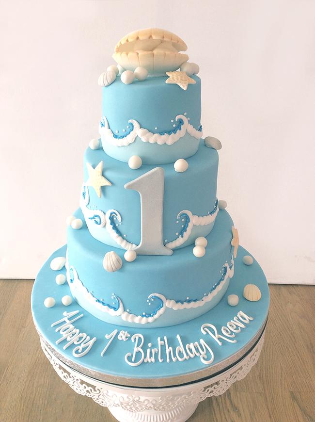 Seashell 1st Birthday Cake