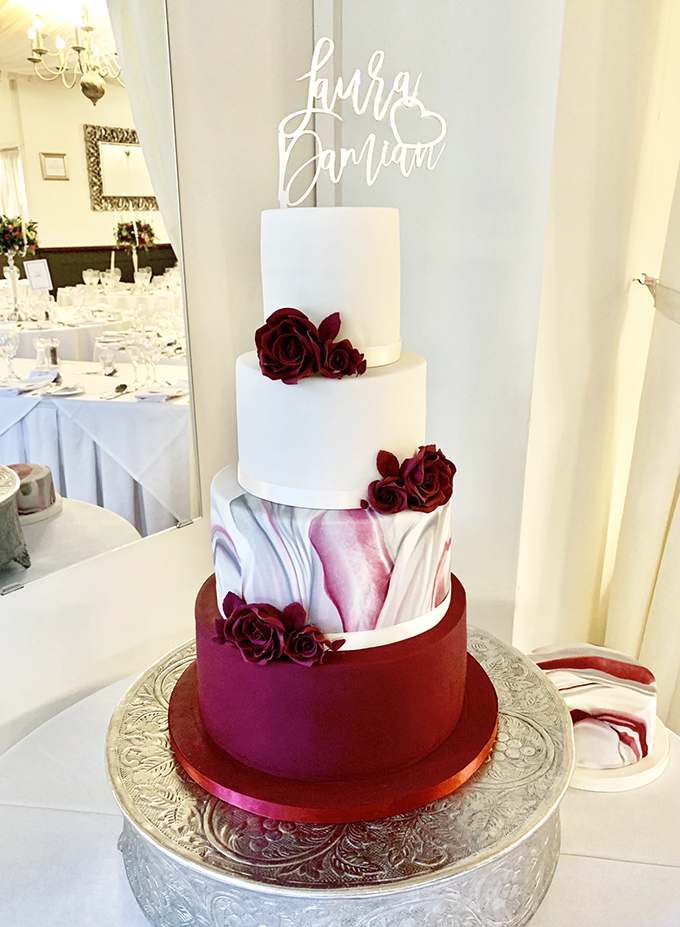 Wedding Cake with Burgundy and Grey Marble