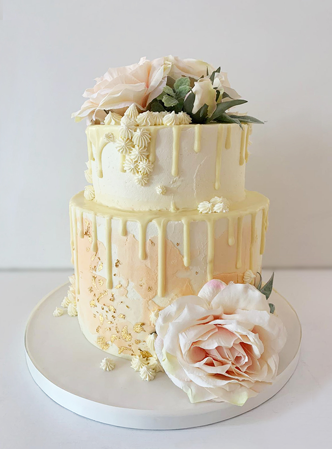 Lemon and Peach Drippy Cake with Gold Flake
