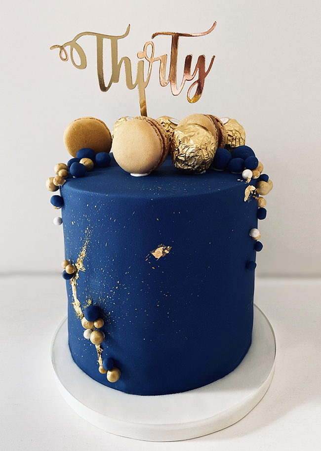Navy and Gold 30th Birthday Cake