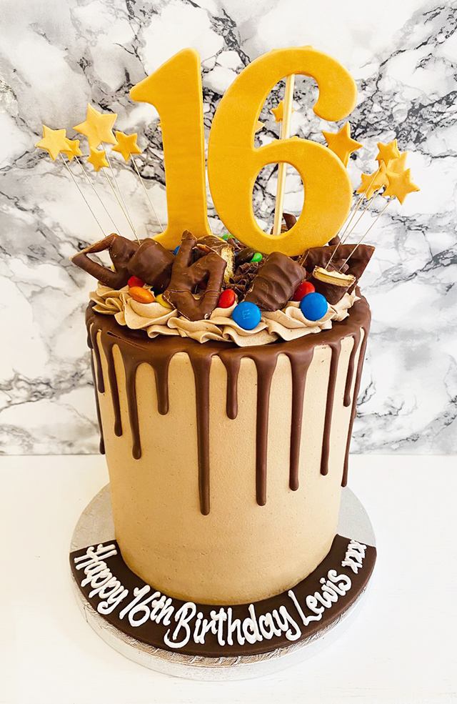 Chocolate Drip Cake with Chocolate Bars and Numbers