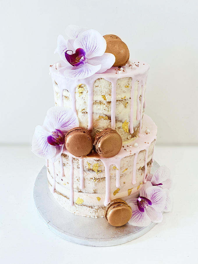 2 Tier Semi-Naked Cake with Macarons
