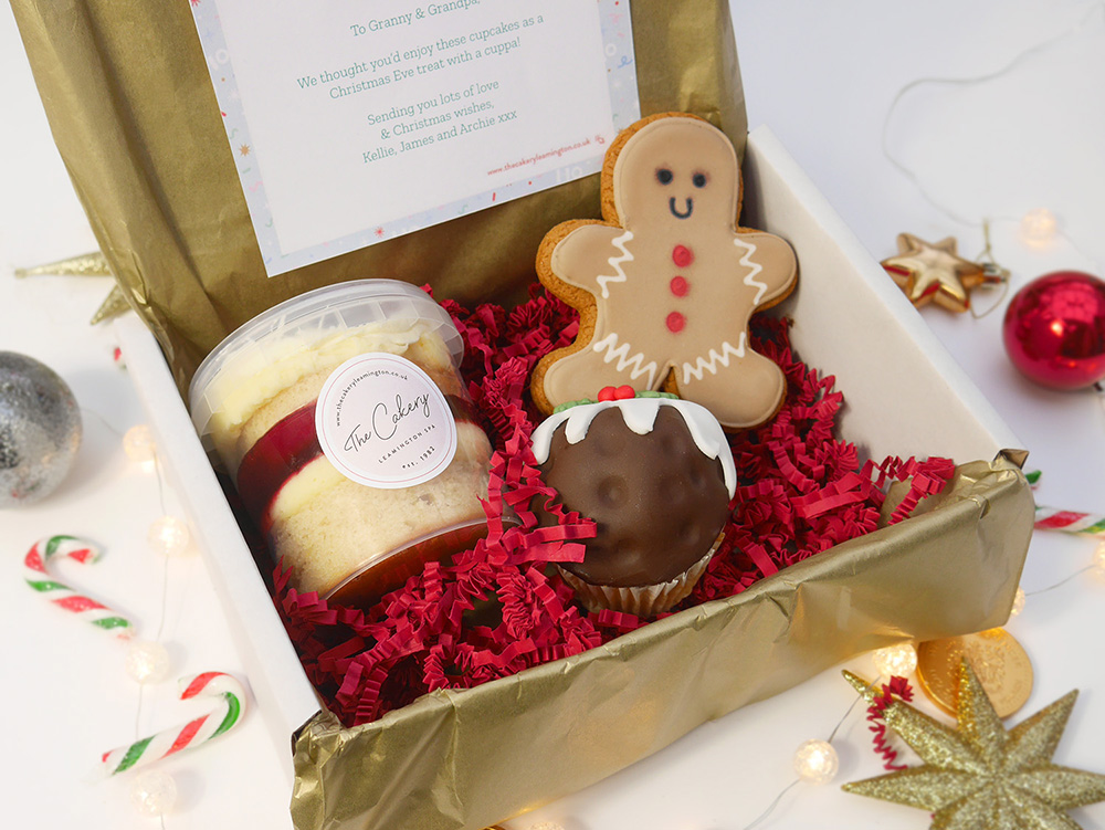'Christmas Pudding Treat Box' box of treats by The Cakery Leamington