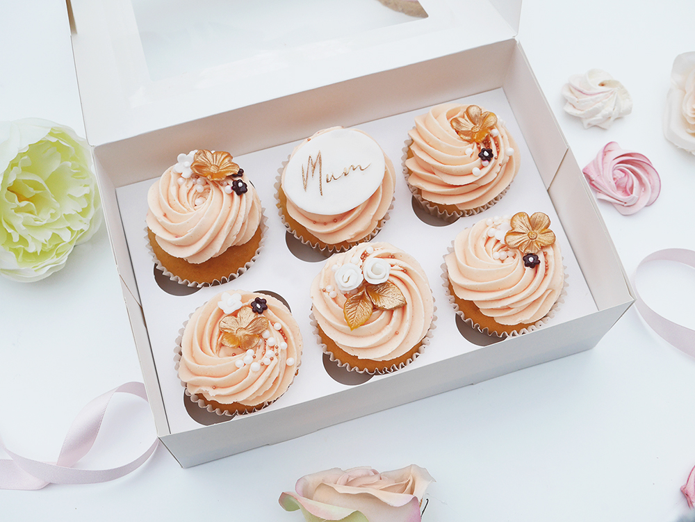 Peach & Rose Gold Mother's Day Cupcakes