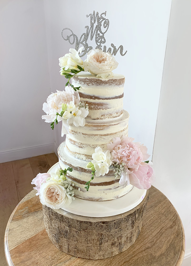 3 Tier Semi Naked Wedding Cake with Fresh Flowers