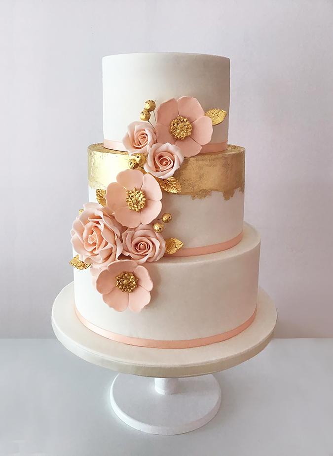 Gold Brush Wedding Cake with Peach Flowers