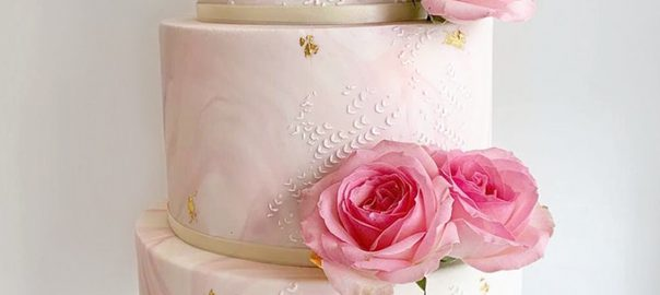 Pink Marble Wedding Cake with Textured Pattern