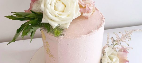Blush Pink Buttercream Cake with Fresh Flowers