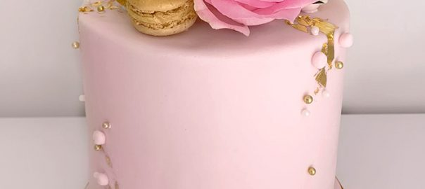 Blush Pink Celebration Cake with Gold Leaf and Pink Roses