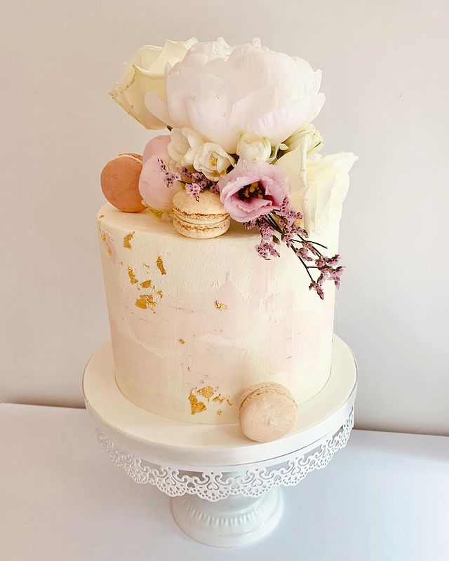 Buttercream Cake with Gold Leaf Macarons and Flowers