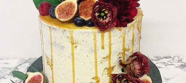 Caramel Drip Cake with Figs and Flowers