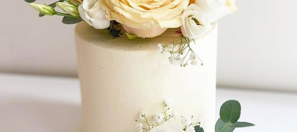 Simple Celebration Cake with Fresh Roses