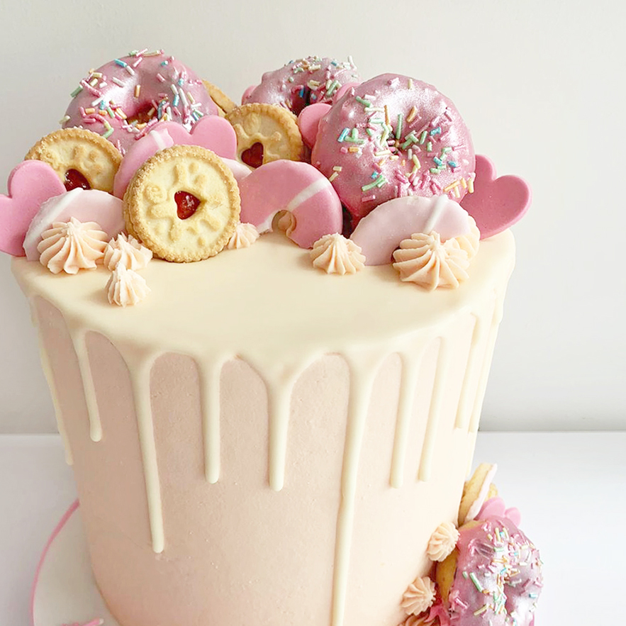 Sweet Donut Drip Cake