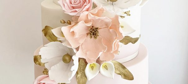 Wedding Cake with Gold Peach and Pale Pink Floral Swag