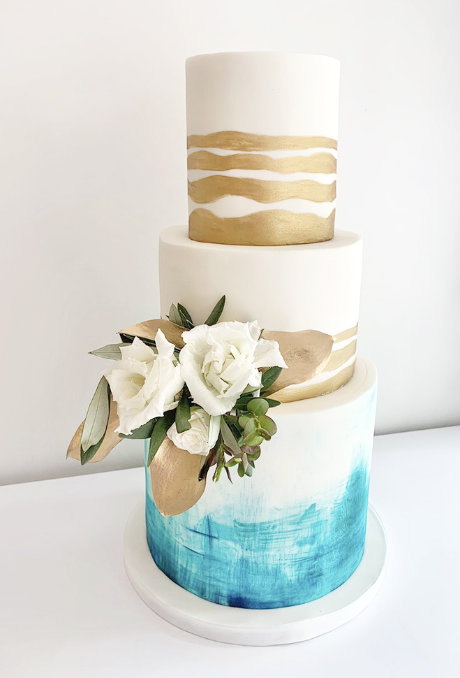 Wedding Cake with Handpainted Gold and Turquoise Texture